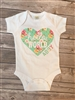 Personalized Hello World Onesie Aqua Floral Print