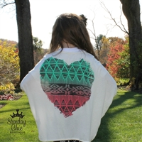 Aztec Heart Open Cardigan