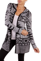 Aztec Printed Hooded Open Cardigan