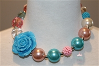 Turquoise & Pink Flower Necklace